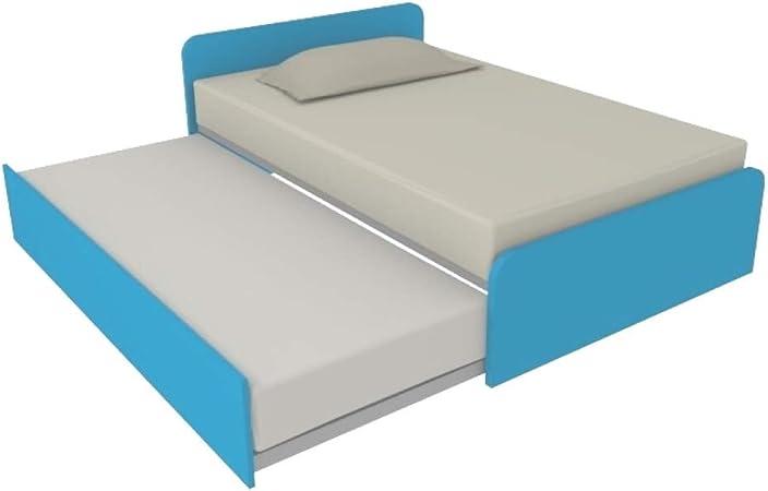 Mobiphino Camerette 864R - Sofá cama (120 x 190 cm, con segunda cama nido y elevable, cabecera personalizada en la posición y la altura, color cian
