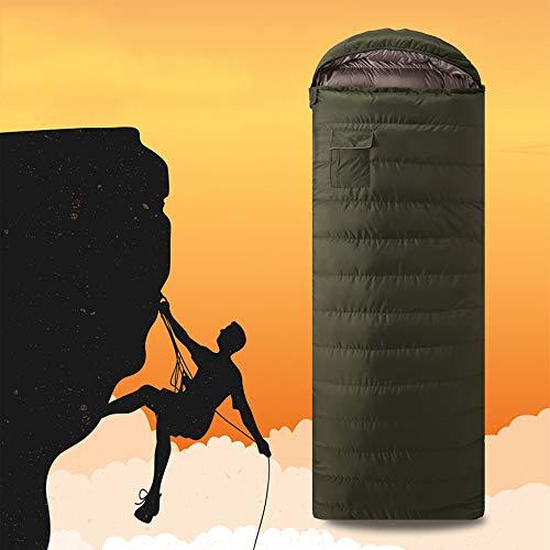 Adulte camouflage vert foncé extérieur sac de couchage couchage couchage de camping fermeture Éclair canard portable sac intérieur sac de couchage, 600 g de duvet d'anard, température adaptée 0 °C à 10 °C