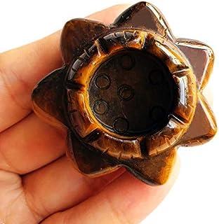 Gemgogo Tiger's Eye Lotus Flower Carved Crystal Gemstone Candle Holders/Crystal Ball Base