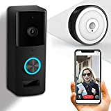 【PIR Motion Detection & Night Vision】Built-in PIR & motion sensor, it will notify you when movement is detected or a visitor presses the doorbell. Night vision will automatically turn on during low light conditions which provides 24 hours HD real tim...