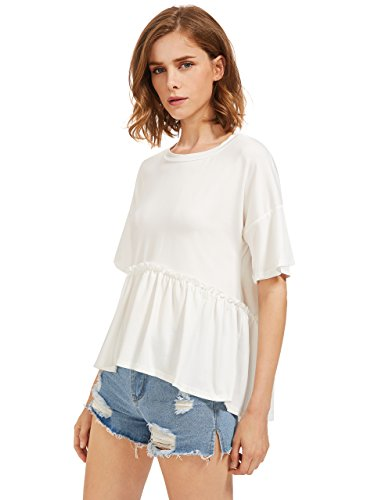 ROMWE Women's Loose Ruffle Hem Short Sleeve High Low Peplum Blouse Top White Medium