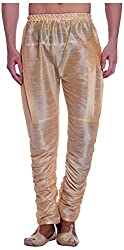 Royal Mens Art Silk Fine Quality Ready to Wear Harem Pants for Men-Free Size Gold