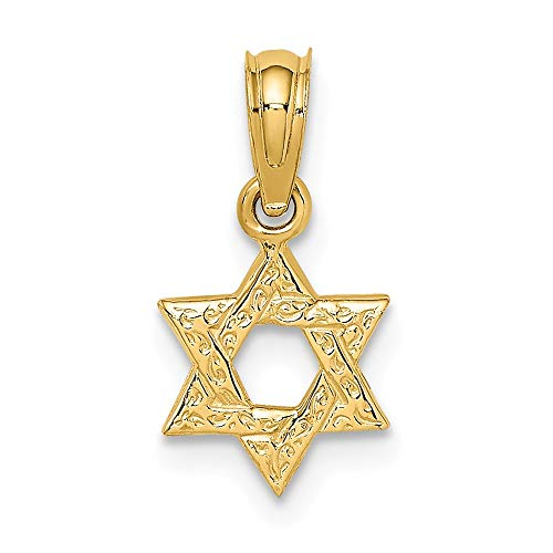 14k Yellow Gold Mini Jewish Jewelry Star Of David Engraved Swirl Pendant Charm Necklace Religious Judaica Fine Jewelry For Women Gifts For Her
