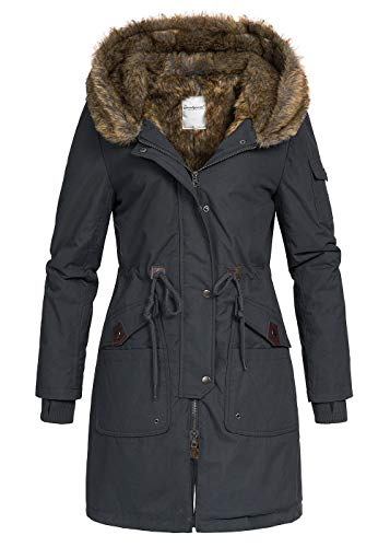 Seventyseven Lifestyle Damen Winter Mantel Jacke Parka Kapuze Webpelz 5 Taschen schwarz, Gr:XL