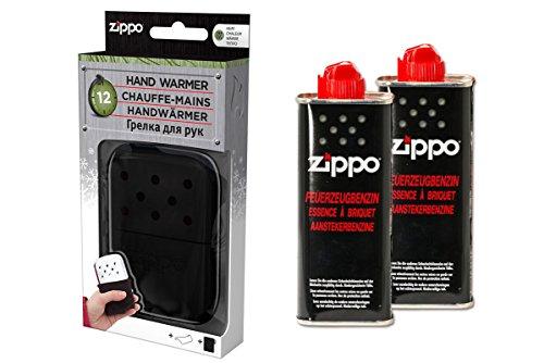 Zippo Handwärmer Premium Set Taschenwärmer schwarz groß 12 Stunden Laufzeit + 2 x Benzin
