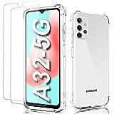 """Cover per Samsung A32 5G,Cover/Custodia Samsung A32 5G Trasparente con 2Pack Pellicola Protettiva in Vetro Temperato & Pellicola Fotocamera,Morbido TPU Protezione Case per Galaxy A32 5G 6.5"""" 2021"""