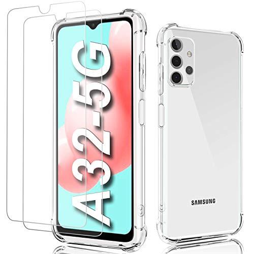 Shock-Absortion - Carcasa para Samsung A32 5G (5G) transparente + 2 protectores de pantalla de cristal templado, silicona TPU