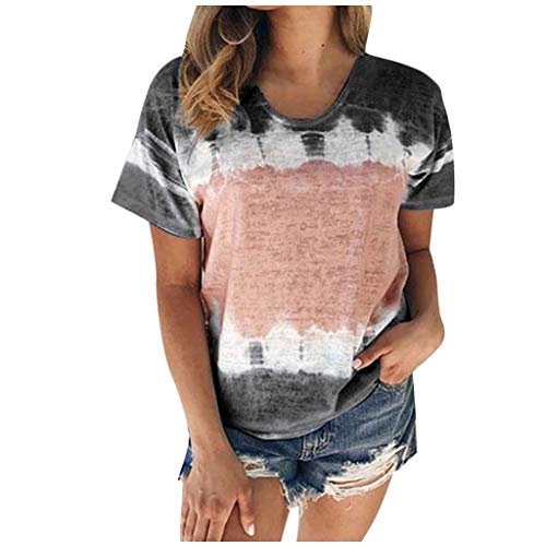 TOFOTL 2020 Blusenshirt Damen, Damen Color Block Tie-Dye Patchwork Rundhalsausschnitt T-Shirt Lässige T-Shirts (S-5XL)