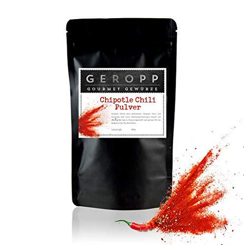 Geropp Gourmet Chipotle Chili Pulver mild geräuchert: Chipotle Chili rot gemahlen im 80g Aromabeutel