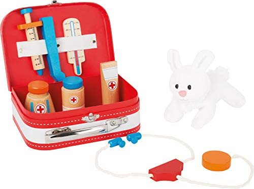 10864 Valigia del veterinario small foot in legno, incl. accessori (siringa, termometro, ecc.) e coniglietto da coccolare, a partire dai 3 anni di età