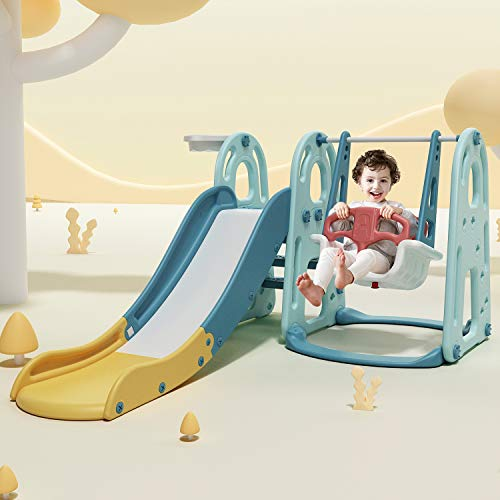 HAPPYMATY 3 in 1 Spielturm Schaukel Rutsche Basketballkorb in einem Kinder Spielplatz Indoor Spielhaus Set Kletterturm Kinderrutsche