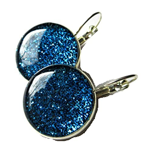 PENDIENTES GLITTER - Pendientes de purpurina azul oscuro - Pendientes colgantes con purpurina - joyería brillante - pendientes de plata - resina - joyería brillante - azul