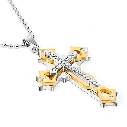 Yixikejiyouxian-A Collar con Colgante de Cadena Cruzada Multicapa de Moda para Hombres y Mujeres, Collar de Cadena Simple para Hombres, Regalo de joyería - Oro 50cm