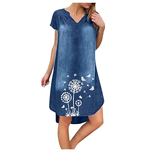 Vestido de verano para mujer, cuello en V, vestido de playa, monocolor, línea A, estampado de diente de león, largo hasta la rodilla, sin accesorios A-blanco. M-36/38/40