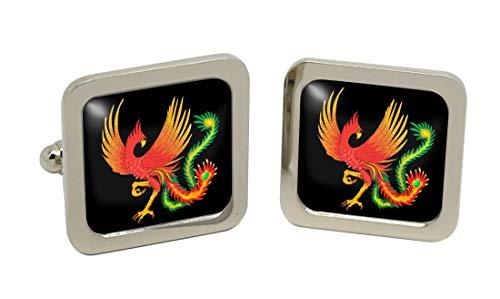 Giftshop UK Chinesisch Phoenix Quadratische Manschettenknöpfe in Chrom Kiste
