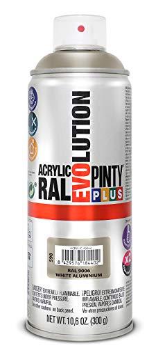 PINTYPLUS EVOLUTION 598 Pintura Spray Acrílica Brillo 520cc White Aluminium, Plata Ral 9006, Estándar