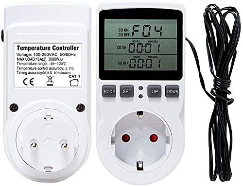 WuLi77 Thermostat Steckdose Steckdosenthermostat Digital Temperaturregler, 16A 220V 110V, Mit Timer Switch Sensor Probe Heizung Kühlung