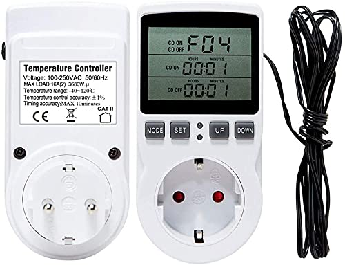 mcbeitrty Toma de corriente 16A del regulador de temperatura del termóstato digital con la pantalla LCD del sensor del temporizador