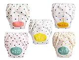 Pañales lavables para bebé, 5 piezas, bragas de aprendizaje limpio, antifugas, para bebé niña o niño Style D 3 años