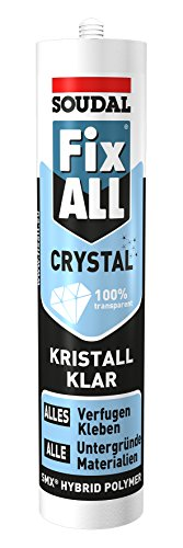 Soudal Fix ALL CRYSTAL, die perfekte Lösung für 100% transparente und flexible Verklebungen sowie Verfugungen, kristallklar, Kartusche: 290ml