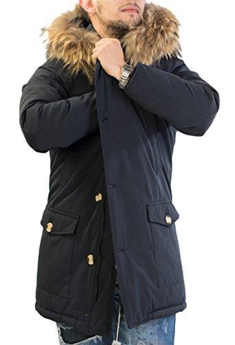 Antony Morale Giubbotto Parka Uomo Invernale con Pelliccia Vera Volpe Removibile 3 Colori Disponibili 7101 (XL 52, Blu Scuro)