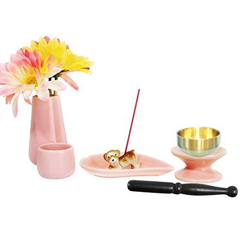 ペット仏具 6点セット ピンク おりん(こりん) イヌ型お線香立て ハート型お香皿つき