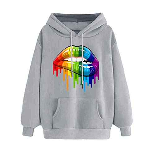Hoodie Women Casual Sweatshirt Women Fashion Sexy Lip Gloss Printing All-Match Hoodie with Pockets Spring and Fall New Womens Printed Casual Long Sleeve Hoodie XXL