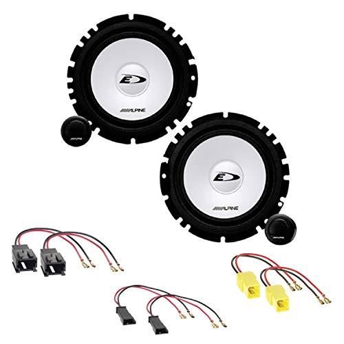 Alpine SXE-1750S 2-Wege Komponenten Lautsprecher System Einbauset für Peugeot 206 307 406 Coupé 407 Coupé vordere Türen und Armaturenbrett