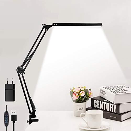 Schreibtischlampe elegant Design LED Tischlampe Klemmbar, 3 Farbtemperaturen 10 Helligkeiten Dimmbar Architektenlampe mit USB-Adapter (im Produkt enthalten)