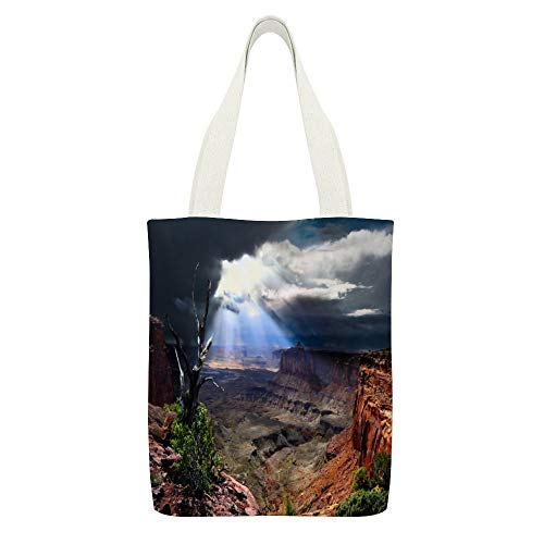 Bolsa de lona Nubes, Utah, Estados Unidos, luz del sol, Canyonlands National Park, color blanco23 Bolsas reutilizables de tela de compras ecológicas súper fuertes regalos