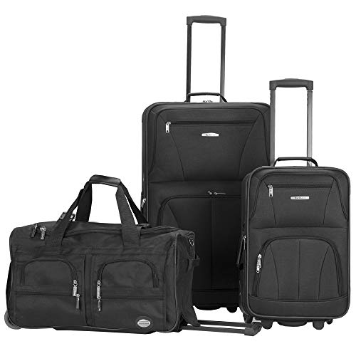 Rockland Vara Softside 3-Piece Upright Luggage Set, Black, (20/22/28)