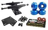 Owlsome 5.25 Black Aluminum Skateboard Trucks w/ 52mm Wheels Combo Set (Blue)