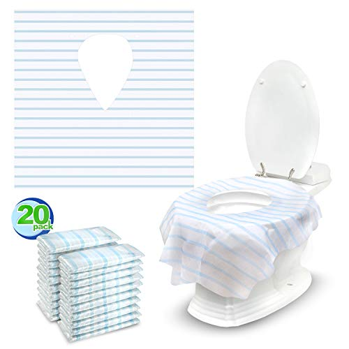 20 Extra Large, Individually Wrapped Disposable Toilet Seat Covers - Water Proof Potty Cover for Adults, Kids, Toddlers - Easy to Use, Nonslip Toilet Covers Disposable for Travel and Public Restrooms