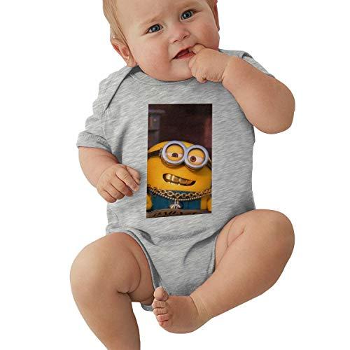 GHYGTY Mini-Ons Baby-Strampler für Neugeborene, superweiche Baumwolle, kurzärmelig, Jersey, Schwarz Gr. 6 Monate, grau