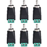 ALEKOR Phono RCA Male Plug to AV Screw Terminal Audio Video Connector Speaker Wire to RCA Adapter (Pack of 6)
