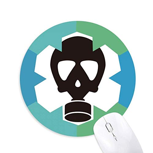 Menschliches Skelett Verschmutzungsmuster Gasmaske Rund Gummi Blaue Schneeflocken Maus Pad
