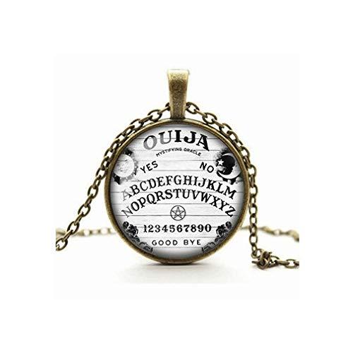 Death Devil Colar com imagem de arte, colar de tabuleiro Ouija, pingente gótico assustador, preto e branco, assento oculto, camafeu de vidro cabochão joia, presente de amor