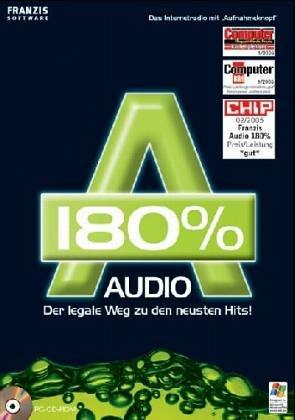 Audio 180 %, 1 CD-ROM Der legale Weg zu den neuesten Hits! Das Internetradio mit'Aufnahmeknopf'. Für Windows 98 SE/ME/XP SP1 und SP2