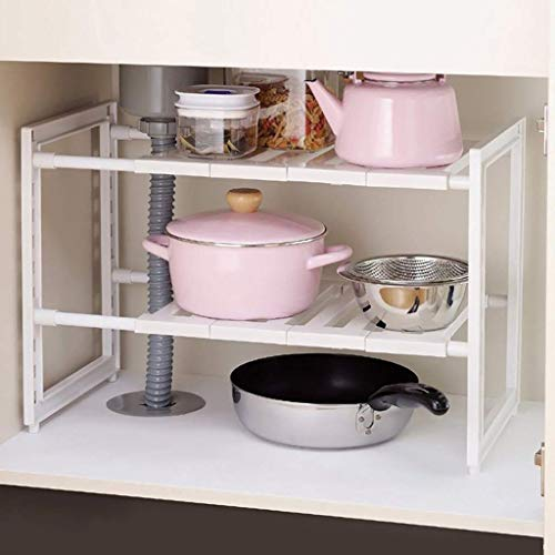 RR&LL 2 tier uitbreidbaar onder wastafel organizer rek, home multifunctionele opbergrek voor keuken badkamer kast rekken, wit (Maat: Breedte 39,5cm)