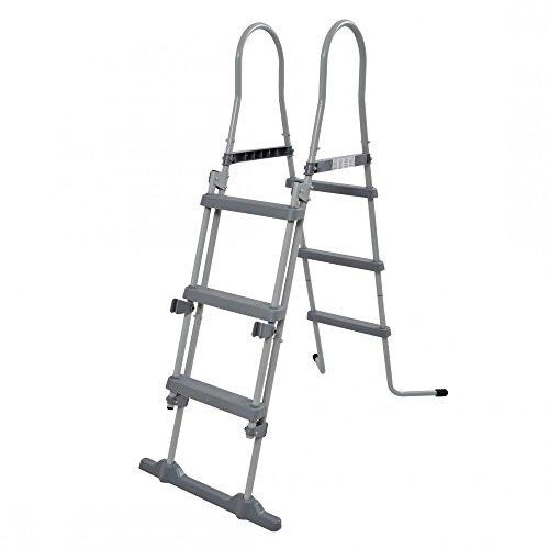 Jilong - Accesorios de Piscina, Escalera con Dispositivo Seguridad,109cm, Gris, 78x 40x 36cm