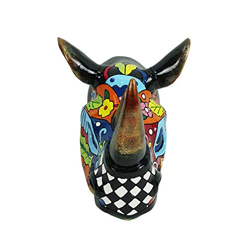 Liffy Cabeza de rinoceronte decoración de pared artesanía animal adornos de resina decoración de Halloween para sala de estar, dormitorio, jardín