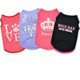 Dog Clothes for Small Dogs Boy Girl Sebaoyu Cat Shirt Cool Puppy Summer Outfits Pet Doggie Short Sleeve T-Shirts Apparel for Medium Large French Bulldog Yorkie Doggie Accessories Clothing 4 Pack (M)