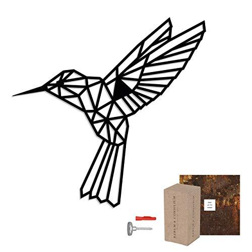 Rerum und Consilium geometrischer Kolibri L in Schwarz   Made in Germany   62 x 61 cm   0,8 kg   unsichtbare Befestigung   Stahl   Kolibri
