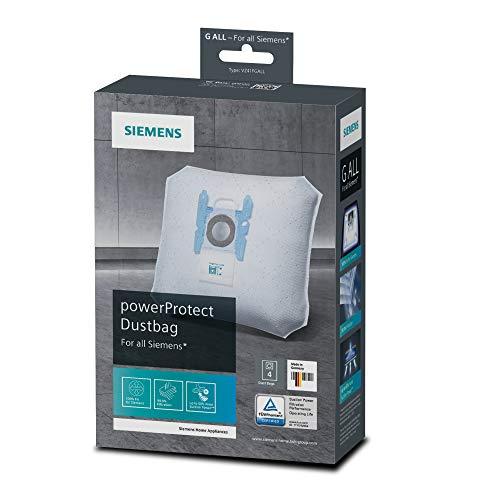 Siemens 4x Staubsaugerbeutel PowerProtect Typ G ALL, VZ41FGALL, 99,9% Feinstaubfilterung, höhere Reinigungsleistung, 50 % längere Nutzungsdauer, passend für alle Reihen außer VS08 und VS01