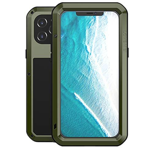 LOVE MEI per iPhone 12 PRO Max Custodia, Outdoor Heavy Duty Antiurto Impermeabile Polvere-Prova Sporcizia-Prova in Alluminio Metallo Cover con Vetro Temperato per iPhone 12 PRO Max 6.7'' (Verde)