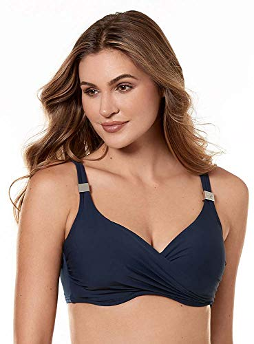 Miraclesuit Women's Swimwear Solid Surplice Underwire Bra Top, Midnight, 36DDD