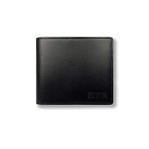 【全3色】EDWIN エドウイン リアルレザー 二つ折り財布 ショートウォレット フラップポケット(0510591) (ブラック)