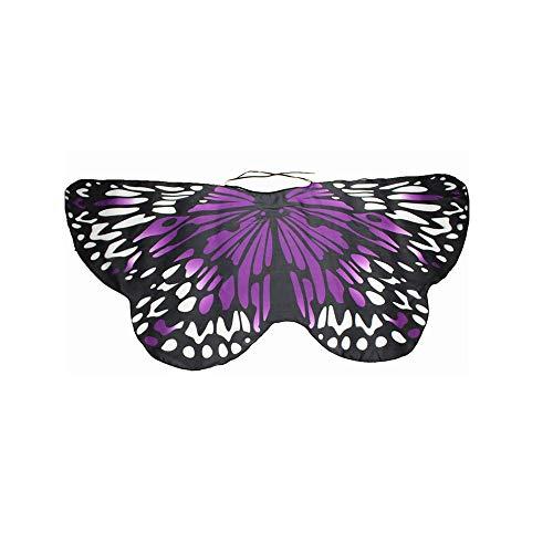 Goosuny Schmetterlingsflügel Poncho Für 3-13J Kinder Jungen Mädchen Chiffon Schmetterling Kostüm Fasching Schal Umhang Show Daily Frühlingstour Party Cosplay Karneval Fasching