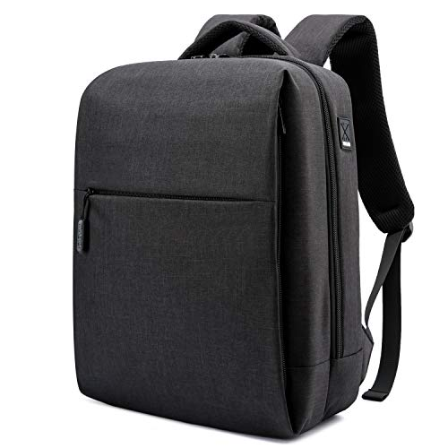 HYZUO 15.6 Inch Travel Laptop Backpack with USB Charging Port Anti-Theft Water Resistant Stylish Multifunction Business School Bag, Black