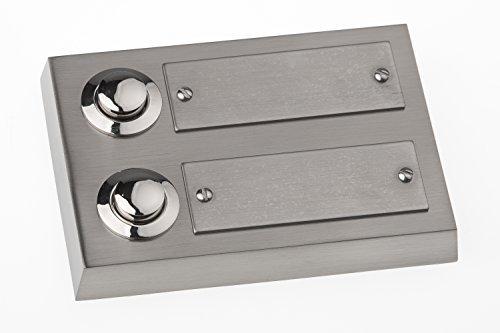 HUBER Klingel Klingeltaster 12012, 2-fach aufputz, rechteckig, Echtmetall, mit Namensschild aus Edelstahl